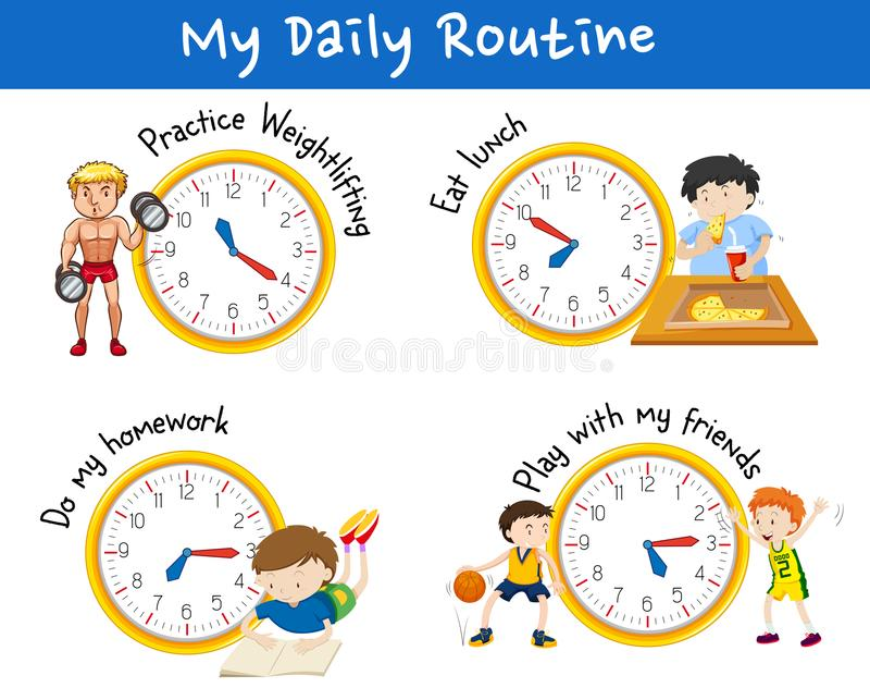 Daily routine for different people with yellow clocks. Illustration royalty free illustration