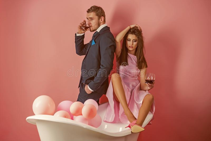 Routine of everyday life. Couple in love in bathroom. Family couple enjoy everyday hygiene. Healthy life style. Everyday. Family life. Having their own daily stock image