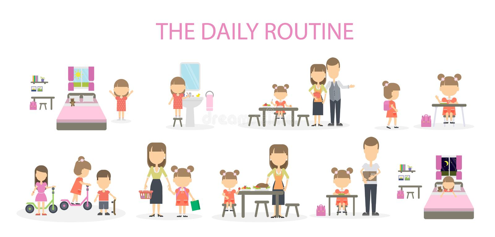The daily routine. The daily routine of a girl. Set of domestic chores and activities. From morning till night stock illustration
