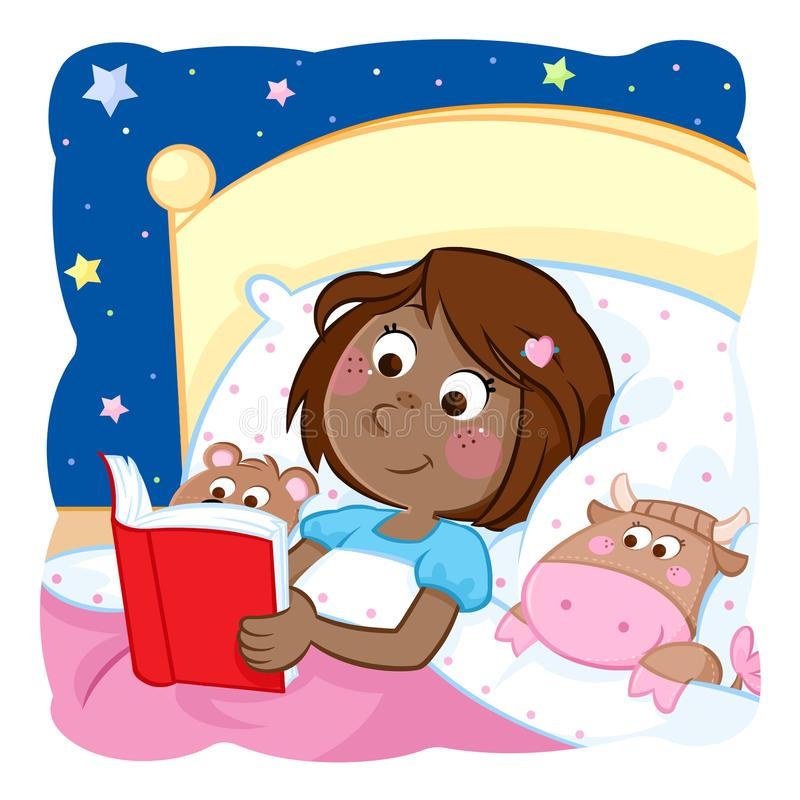 Adorable little black girl reading bedtime story to her funny toys vector illustration