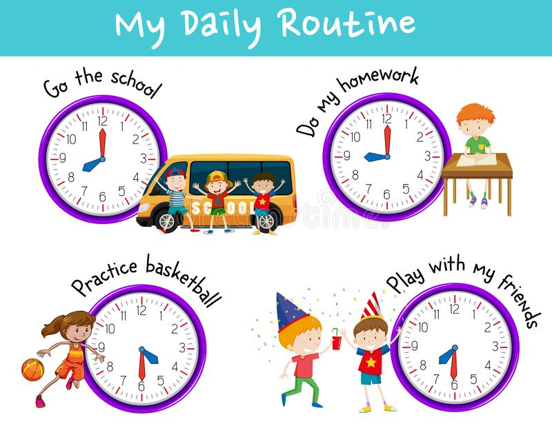 Daily routine for kids with clock and activities vector illustration