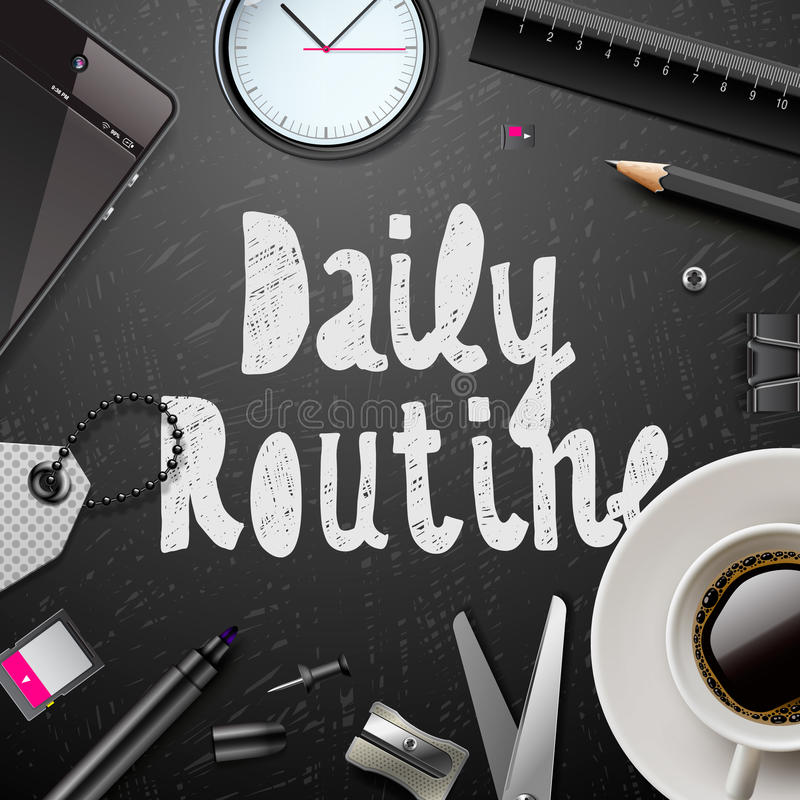Daily Routine Modern Office Supplies Stock Vector Image