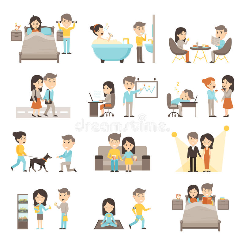 Daily Routine People Set stock illustration