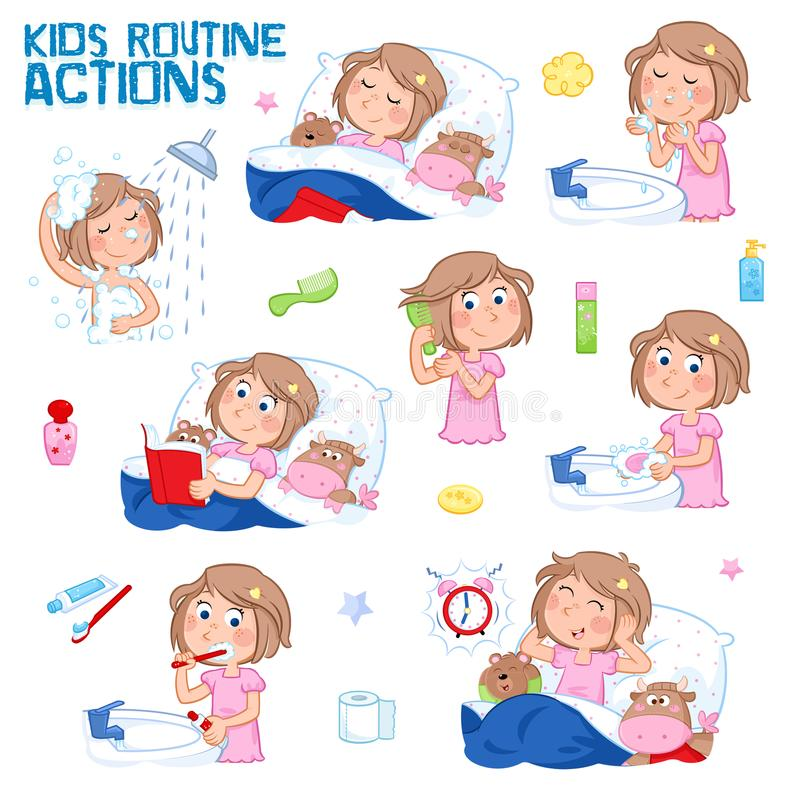 Routine quotidiana di una bambina con capelli marrone chiaro - un insieme di otto buongiorno e di azioni di routine della buona n illustrazione di stock