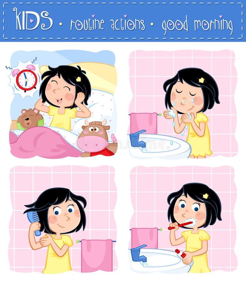 Routine quotidienne d'une petite fille - ensemble de quatre actions courantes bonjour - heure pour l'école illustration stock