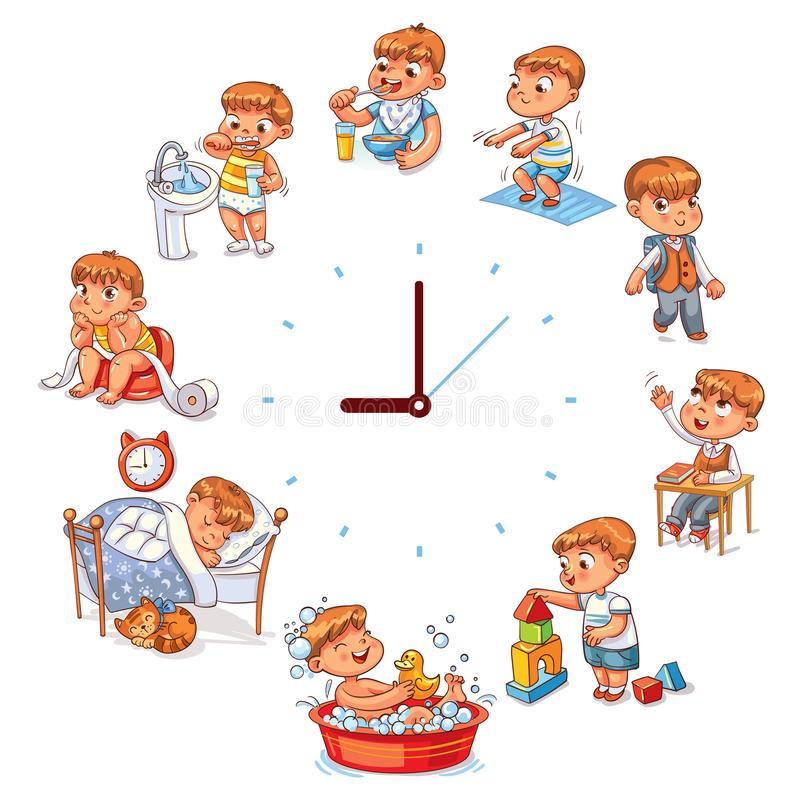 Daily routine. With simple watches. Vector set with baby boy. Funny cartoon character. Vector illustration. on white background royalty free illustration