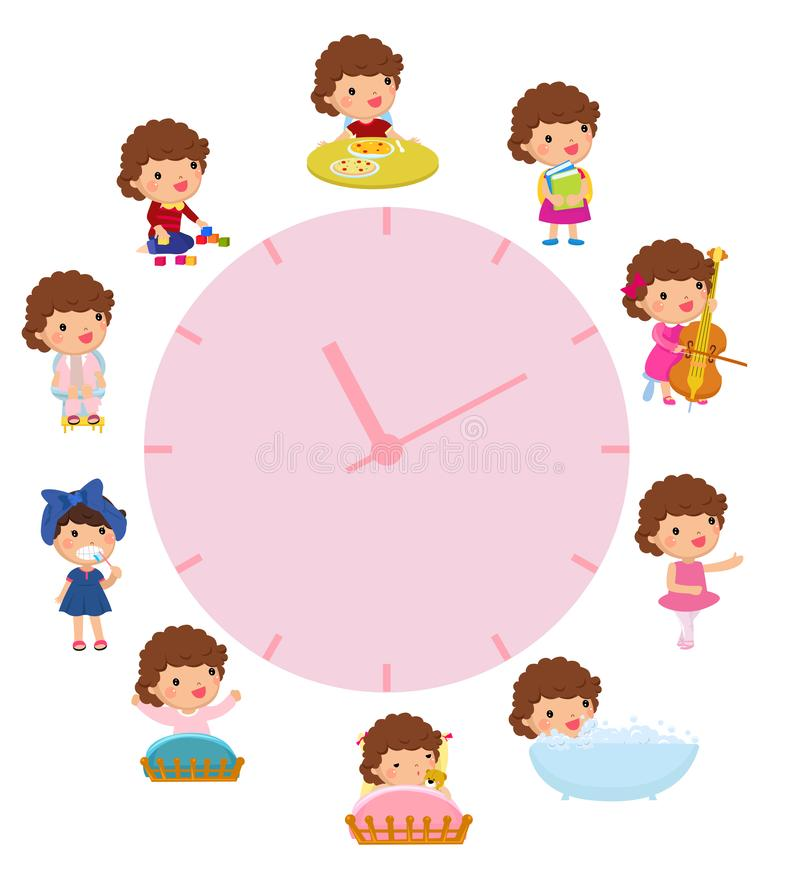 Daily routine with simple watches. Vector set with baby girl. Funny cartoon character. royalty free illustration