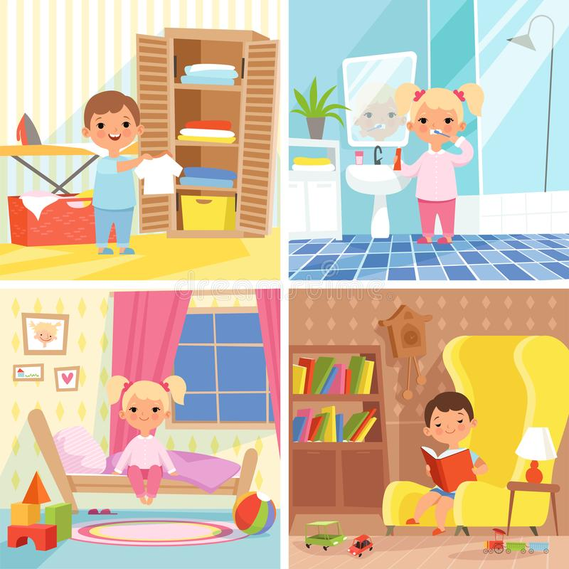 Daily routine. Various situations of time in day. Daily child routine, morning life activity, boy and girl situation every day illustration royalty free illustration
