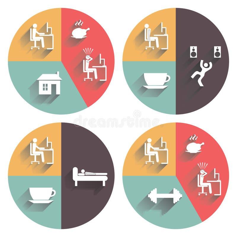 Daily routine. Vector set. Daily routine. Vector set for your design stock illustration