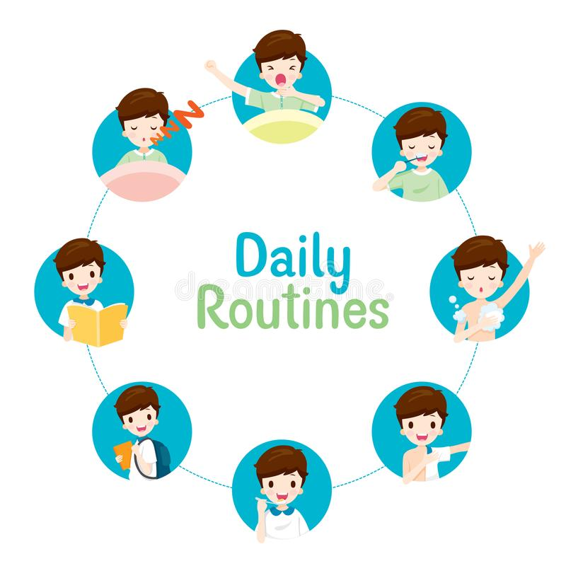 The Daily Routines Of Boy On Circle Chart stock illustration