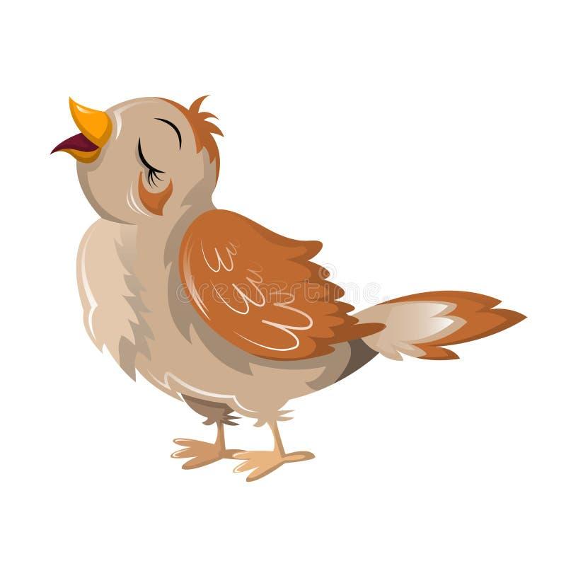 Rouxinol engraçado bonito do pássaro dos desenhos animados Grandes aves migratórias coloridas ilustração royalty free
