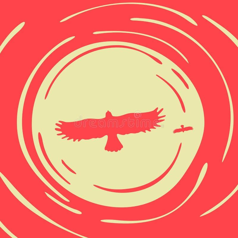 Rov- fågel på en bakgrund av solen royaltyfri illustrationer