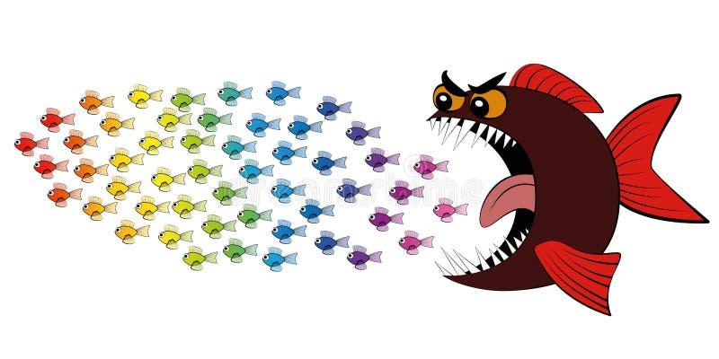 Rov- fisk som jagar stimen av fiskkomiker vektor illustrationer