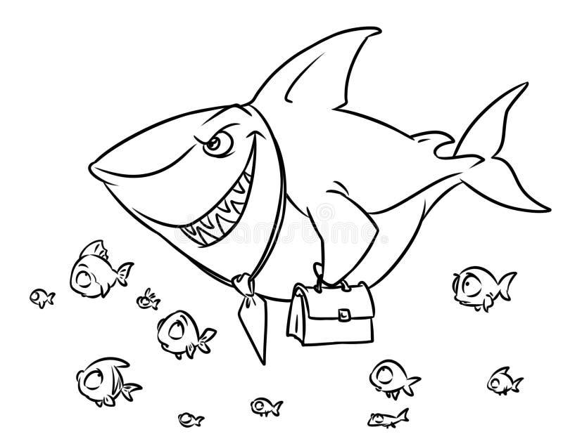 Rov- sida för färgläggning för tecknad film för överlägsenhet för konkurrens för fiskhajaffär royaltyfri illustrationer