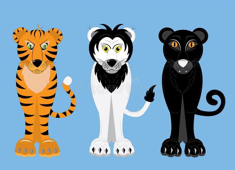 Rov- stora katter tiger, lejon, panter stock illustrationer