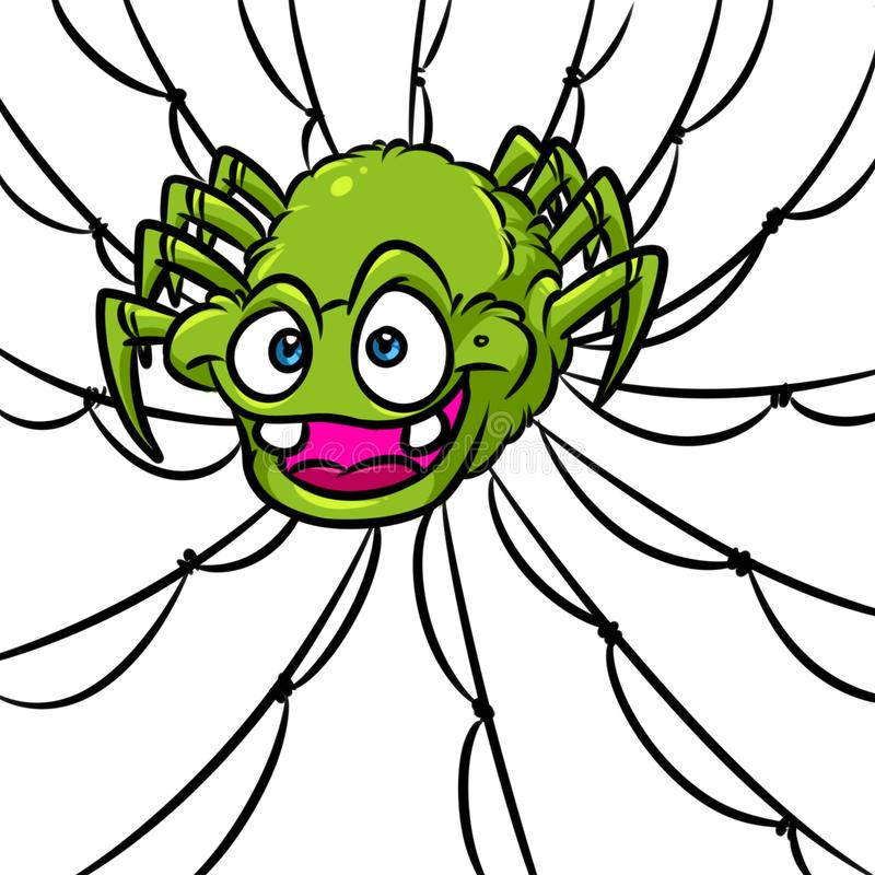 Rov- tecknad film för sökande för rov för spindelrengöringsduk vektor illustrationer