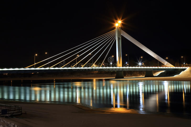 Rovaniemi bridge at night stock photo