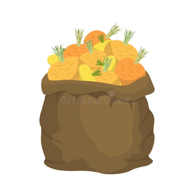 Rovasäckvävpåse säck av grönsaker stor skörd på lantgård sackful stock illustrationer