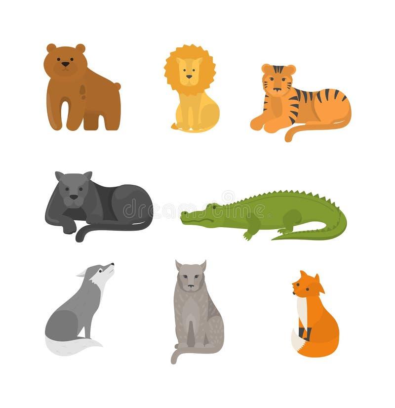 Rovdjurs- djur uppsättning Lös farlig däggdjurs- samling vektor illustrationer