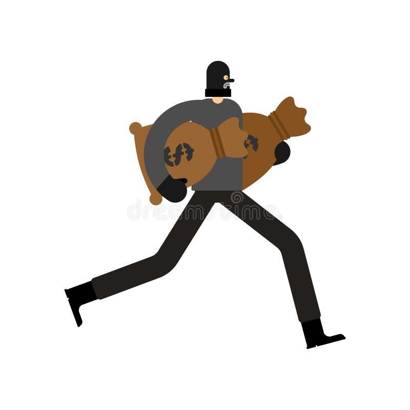 Rover en zak geld inbreker in maskerlooppas plunderer Vector i vector illustratie