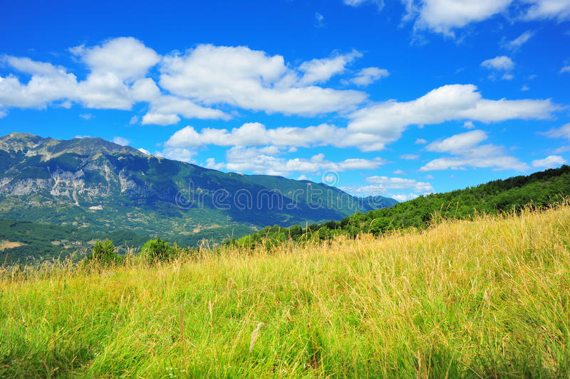 Roveto Valley Abruzzo Central Italy - Apennines. Vivid sunny day in Central Italy Apennines royalty free stock images