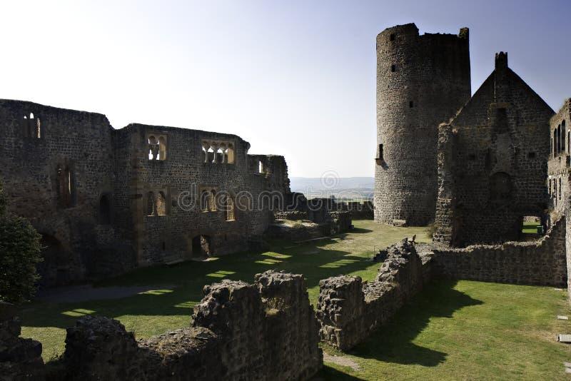 Rovina del castello medioevale Muenzenberg fotografia stock libera da diritti