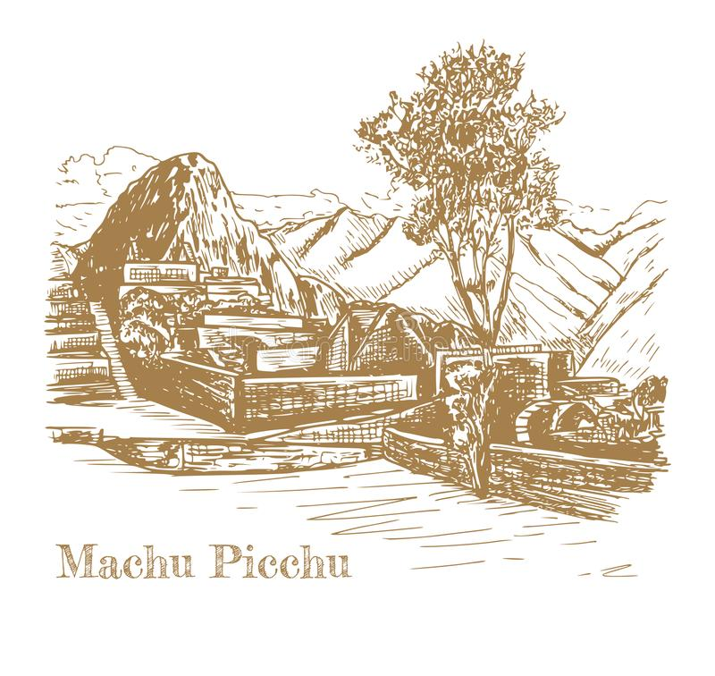 Rovina di civilizzazione antica Machu Picchu illustrazione vettoriale