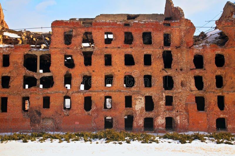 Rovina dopo la guerra a Volgograd immagine stock