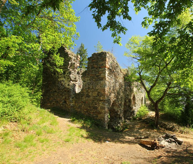 Rovina Zboreny Kostelec, repubblica Ceca del castello fotografie stock libere da diritti