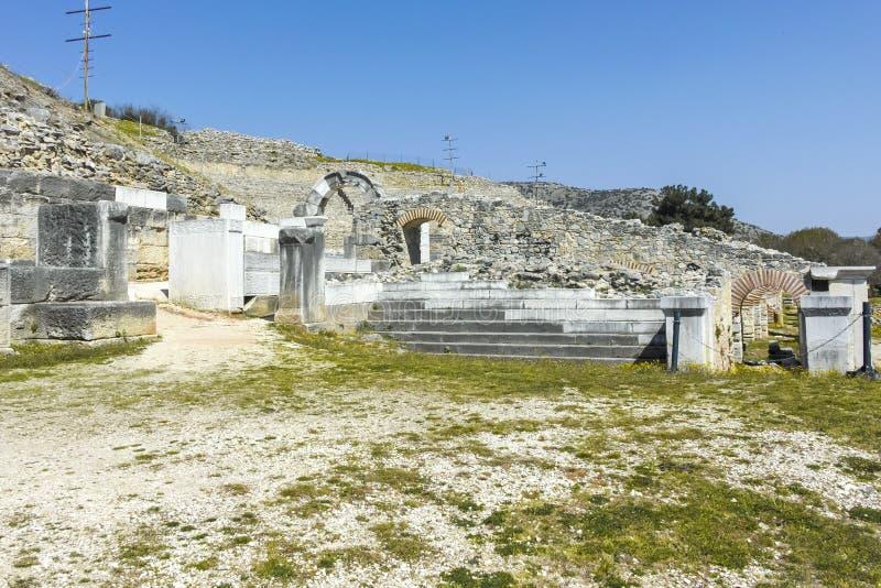 Rovine antiche al sito archeologico di Filippi, Grecia fotografia stock libera da diritti