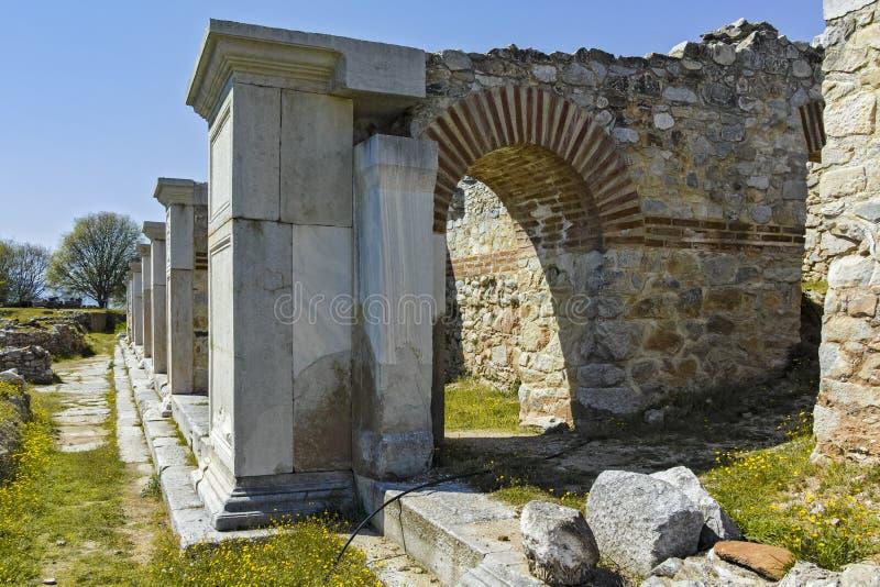 Rovine antiche al sito archeologico di Filippi, Grecia immagine stock libera da diritti