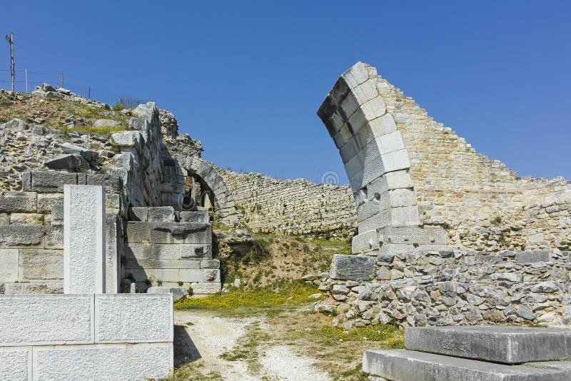 Rovine antiche al sito archeologico di Filippi, Grecia fotografie stock libere da diritti