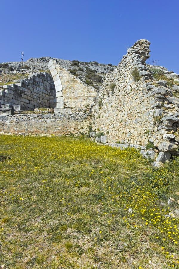 Rovine antiche al sito archeologico di Filippi, Grecia immagini stock