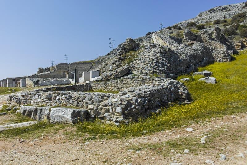 Rovine antiche al sito archeologico di Filippi, Grecia fotografie stock