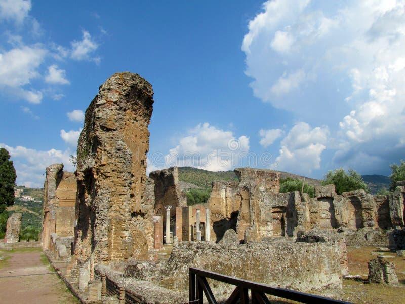 Rovine antiche antiche della villa Adriana, Tivoli Roma fotografia stock