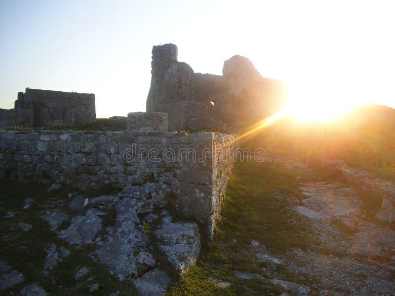 Rovine dal castello di Rozafa a Shkodra fotografia stock