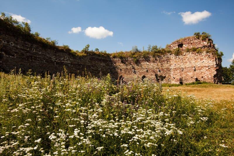Rovine del castello in Buchach, oblast di Ternopil, Ucraina immagine stock