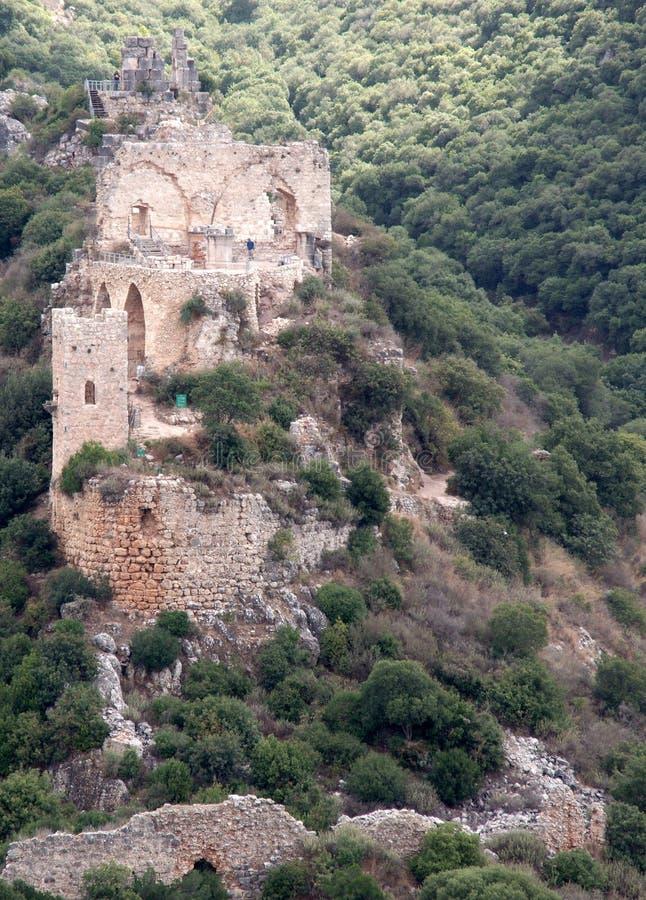 Rovine del castello dei crociati nel Galilee immagini stock