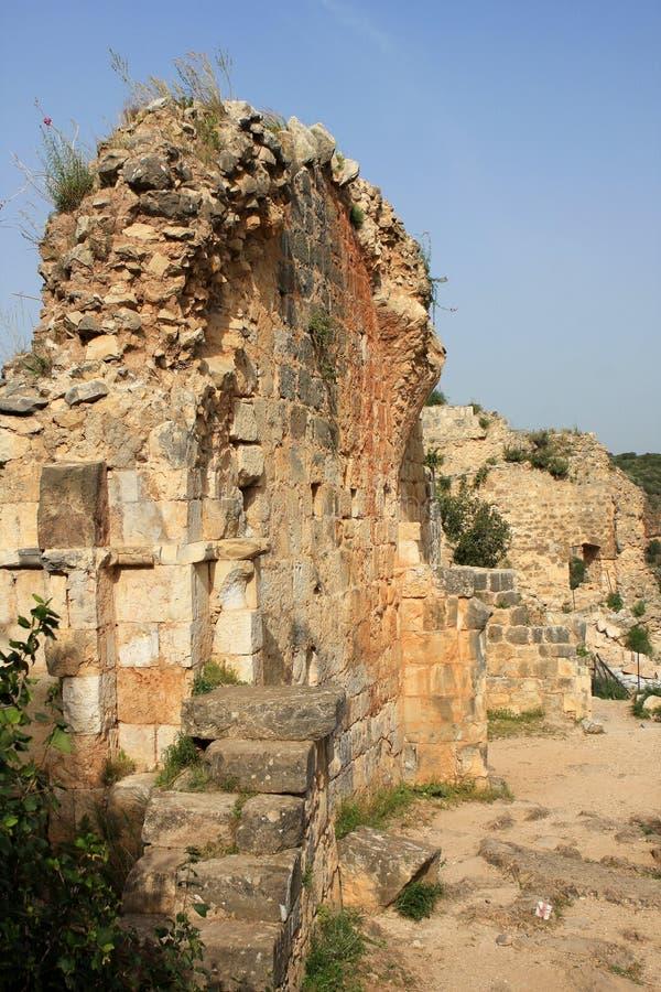 Rovine del castello di Monfort, Israele immagine stock