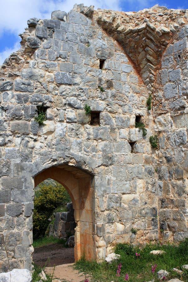 Rovine del castello di Monfort, Israele fotografie stock libere da diritti