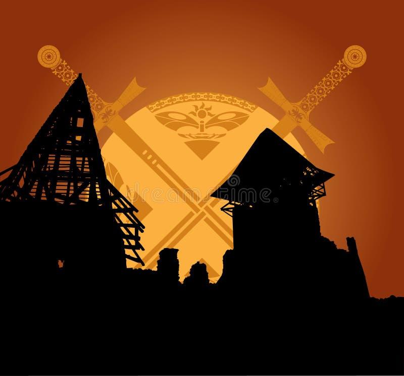 Rovine del castello e spade di fantasia illustrazione vettoriale