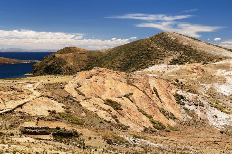 Rovine del Inca, Isla del Sol, lago Titicaca, Bolivia fotografia stock libera da diritti