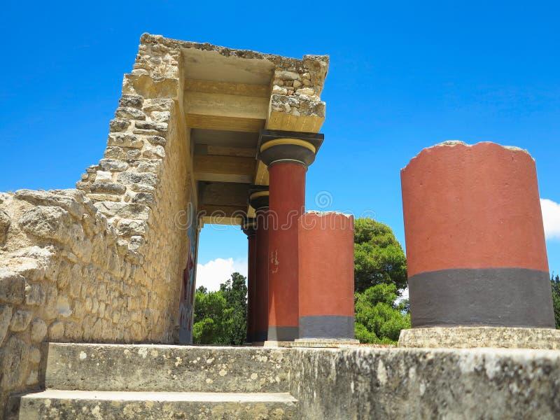 Rovine del palazzo di Minoan di Cnosso a Candia, Grecia fotografie stock