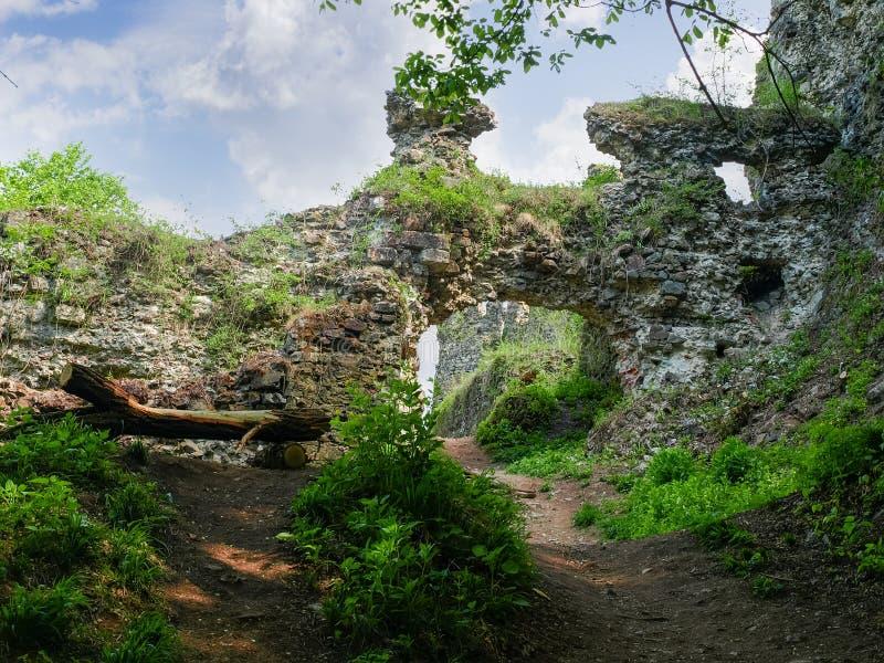 Rovine del portone del castello medievale, Khust, Ucraina fotografia stock libera da diritti