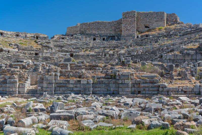 Rovine del teatro di Mileto antico Turchia immagine stock libera da diritti