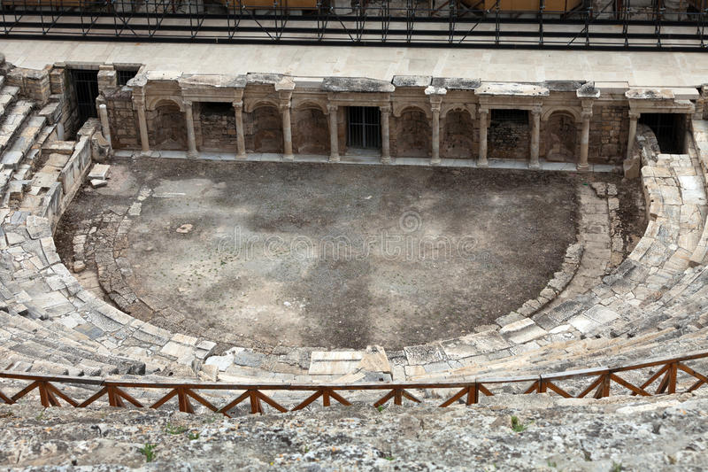 Rovine del teatro in Hieropolis, Pamukkale, fotografia stock