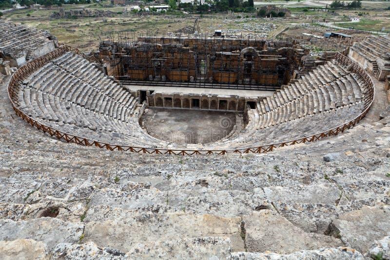 Rovine del teatro in Hieropolis, Pamukkale, fotografie stock libere da diritti