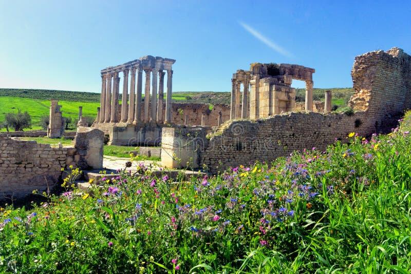 Rovine del teatro in Thugga, Tunisia fotografie stock