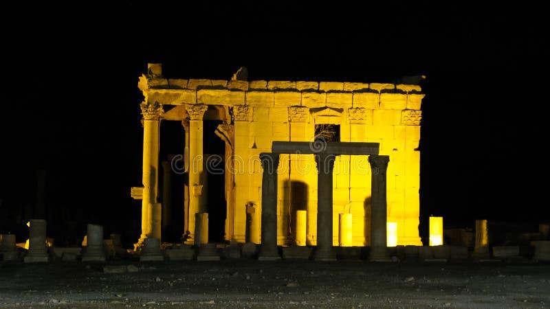 Rovine del temnle di Baalshamin nella città antica di Palmira, ora distrutte da ISIS, la Siria fotografia stock