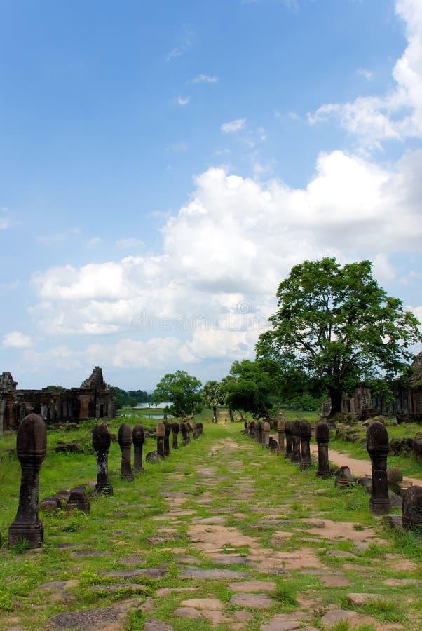 Rovine del tempiale del champasak di phu di Wat, Laos fotografia stock